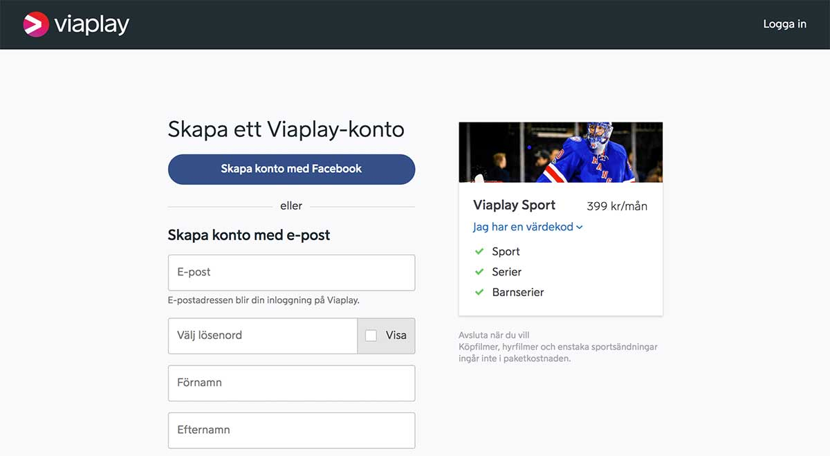 viaplay stream registrering